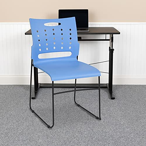 Flash Furniture 5 Pack HERCULES Series 881 lb. Capacity Blue Sled Base Stack Chair with Air-Vent Back