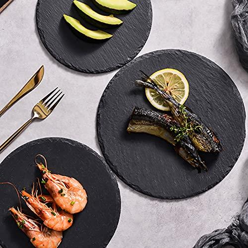 GZWY - Bandeja de pizarra redonda para servir platos, platos de servicio de pizarra natural, sushi, plato de servir, piedra, plato de queso (20 cm)