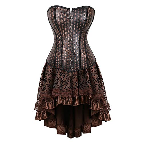 TWGDH Faux Cuir Corsets Bustiers avec Jupes Costumes Steampunk Cosplay for Showgirls Plus Size Gothic Dress Corset (Color : Brown, Size : 5XL)