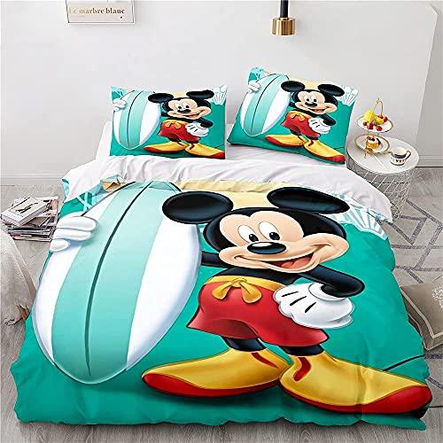 LWtiao-x Ropa de cama para niñas de 155 x 220 cm, diseño de Mickey y Minnie, 100% algodón, color negro/blanco, funda nórdica y funda de almohada (4,155 x 220 cm + 80 x 80 cm)