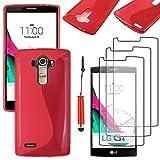 ebestStar - Funda Compatible con LG G4 H815, G4 Dual-LTE Carcasa Gel Silicona Gel TPU Motivo S-línea, S-Line Case Cover + Mini Lápiz +3 Peliculas, Rojo [Aparato: 149 x 76.2 x 9.8mm, 5.5'']