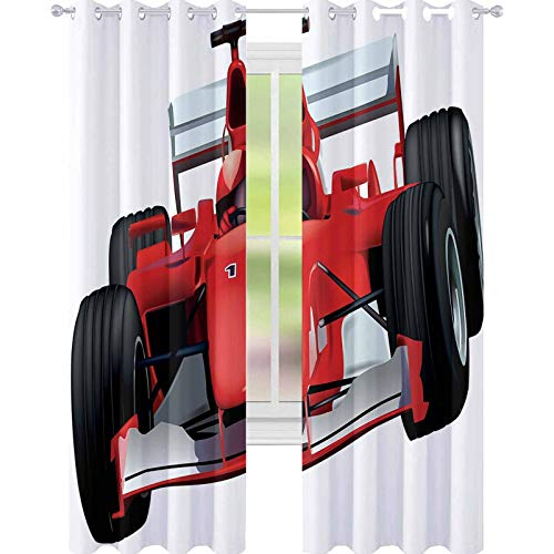 """YUAZHOQI Cars Room Darkening Window Curtains Formula Race Car with The Driver Automobile Motorized Sports Theme Strong Engine Decorative Curtains for Living Room 52"""" x 63"""" Red Black White"""