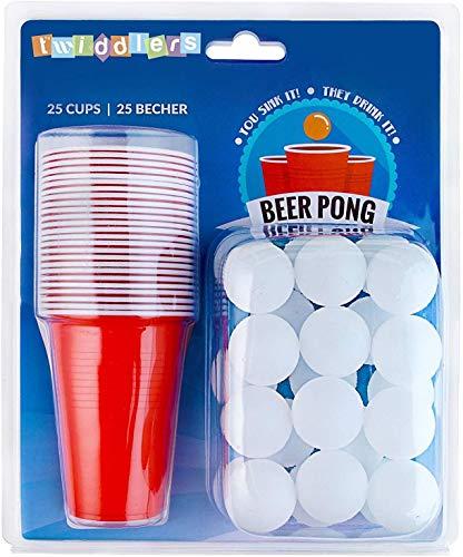 THE TWIDDLERS 50 Stück Bier Pong Set, Beer Pong Spiel - 25 Rote Plastikbecher, 25 Bällen - Klassisches Party Trinkspiel für Erwachsene.