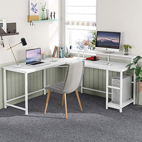 Tribesigns Datorskrivbord kontorsskrivbord L-format trähörn skrivbord dator arbetsstation stor PC spelbord med skärmstativ kontorsbord för hem och kontor 55 x 51,2 cm x 89,9 cm vit