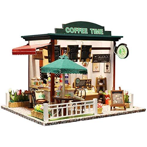 SBRTL Casa Muñecas De La Hora del Café, Casa Muñecas Café Cabina Bricolaje Juguetes Madera Modelos Ensamblados Casa Muñecas Manualidades Juguete Bricolaje Casa Madera