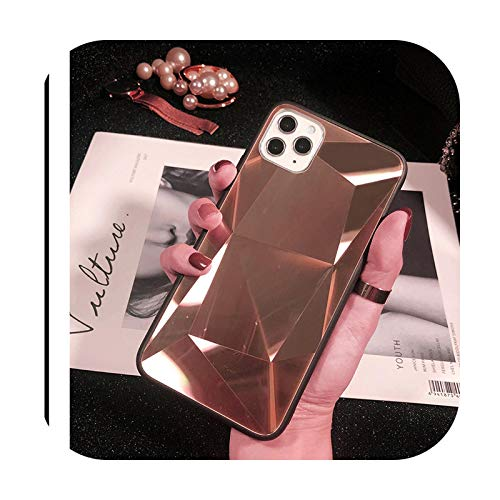 Fashion for iPhone 12 Pro Mini X XS Max XR Mirror TPU Cover 3D Laser Bling Diamond Case for iPhone 11 Pro Max 7 8 Plus 6 6s Plus-RGold-for iPhone 12