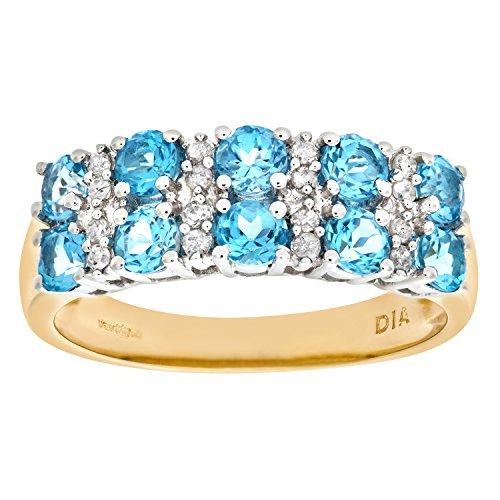 Naava Women's 9 ct Yellow Gold Diamond and Claw Set Blue Topaz Eternity Ring, Size U