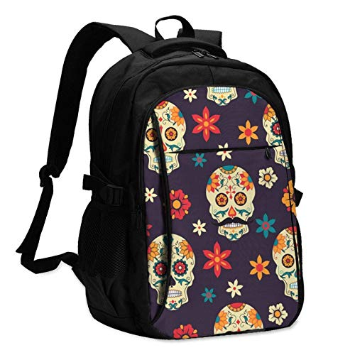 XCNGG Day of The Dead Sugar Skulls Travel Laptop Backpack with USB Charging Port Multifunction Work School Bag