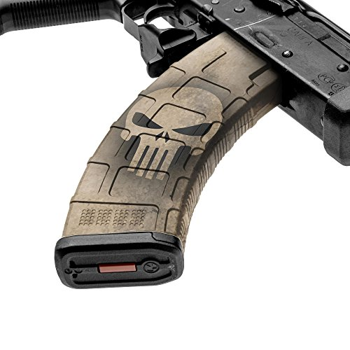 GunSkins AK-47 Mag Skin - Premium Vinyl Mag Wrap with Precut Pieces - Easy to Install and Fits 30rd Magazines - 100% Waterproof Non-Reflective Matte Finish - Made in USA - GS Skull Tan
