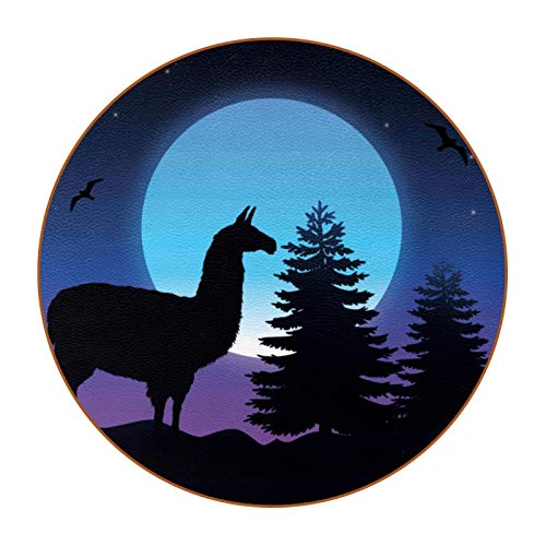 6 Pieza Creativa Diseño Posavasos Alpaca Posavasos de Cuero de Microfibra, Tipos de Café té Cristal Posavasos Portavasos Mat para Cocina Salón y Bar 11cm