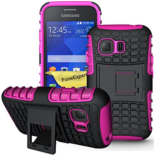 FoneExpert® Galaxy Young 2 Handy Tasche, Hülle Abdeckung Cover schutzhülle Tough Strong Rugged Shock Proof Heavy Duty Case für Samsung Galaxy Young 2 SM-G130 + Displayschutzfolie (Rosa)