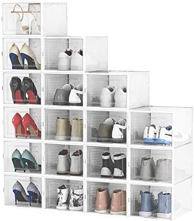 Pellebant 18 Pack Stackable Shoe Storage Boxes Foldable Plastic Shoe Organizer for Closets Entryway product image
