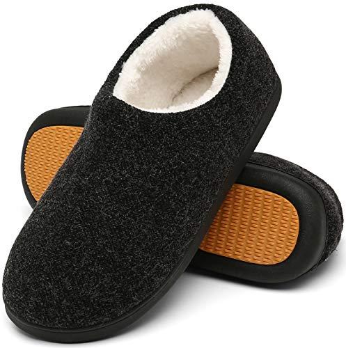 Mishansha Zapatillas de Casa Invierno Hombre Pantuflas Antideslizante Zapatos Espuma Viscoelástica con Cálido Forrado Negro Gr.42
