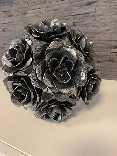 7 Eisen Rosen - Bouquet geschmiedet, pulverbeschichtet (Perfektes Geschenk zum Geburtstag, Valentinstag, Jahrestag, Verlobung, Hochzeit)