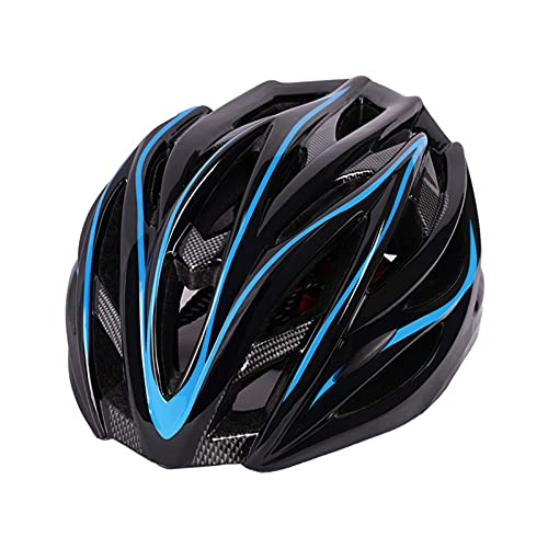 Adult Bike Helmet, Adjustable Bicycle Helmet for Men/Women/Youth Teenager Road Mountain Cycling, Size 55 to 62cm, Lining RemovableUltralight Ventilation Road Cycling Bicycle Helmet,Black+Blue