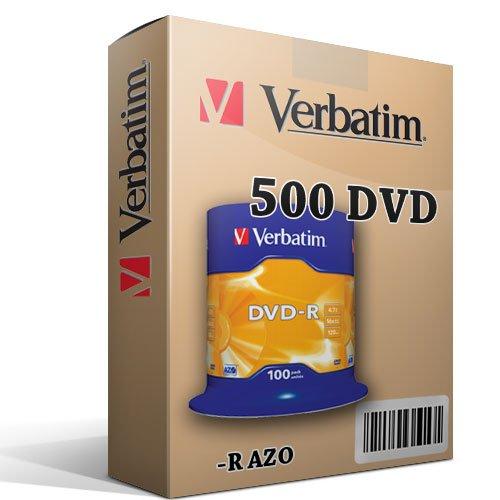 Verbatim 500 DVD VERGINI 100% ADVANCED AZO+ PROTECTION IN CAKE BOX
