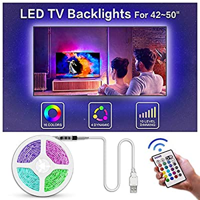 TV Led Backlight, Bason USB Led Lights Strip for TV/Monitor Backlight, Led Strip Light with Remote, TV Bias Lighting for Room Home Movie Decor.(30-70inch)