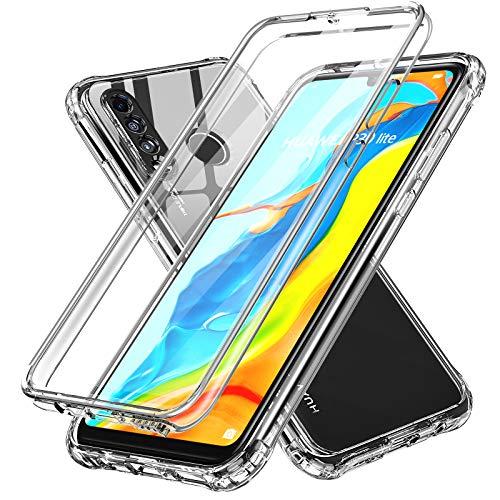 LeYi Coque pour Huawei P30 Lite avec Protecteur dÉcran Intégré, Etui de Protection 360 Degrés Intégrale Bumper Antichoc TPU Souple et PC Rigide Housse pour Huawei P30 Lite Transparente