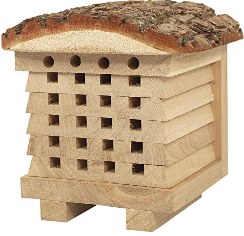5148+yrxP1L - NEST TO NEST Wildbienen Nisthilfe Aus Massiver Eiche Und Rinde I Bienen Hotel I Bienenhaus Für Den Garten, Premium Qualität