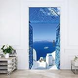 murimage Papel Pintado Puerta Santorini 86 x 200 cm Incluye Pegamento Mar Blanco Turquesa Azul Nave Grecia Mediterráneo Sala de Estar Foto Mural