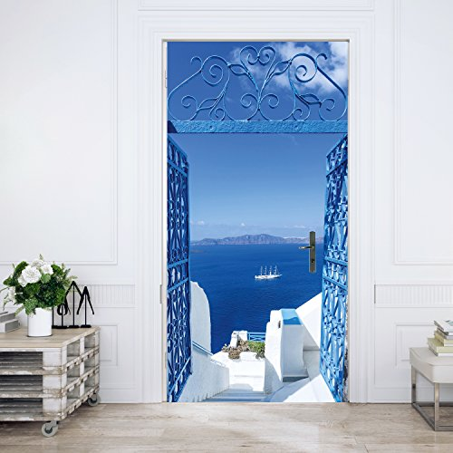 Murimage deurbehang Santorini 86 x 200 cm zee deur wit blauw turquoise trappen Griekenland Middellandse zee fotobehang lijm