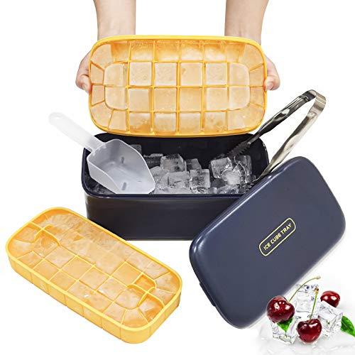 Baozun Eiswürfelform Eiswürfelbehälter mit Deckel Eiswürfel Eisbox mit Deckel, Doppelschicht Silikon Eiswuerfel Form Kunststoff Eiswürfelbox, Ice Cube Tray mit EiswürfelSchaufel 64 Fach