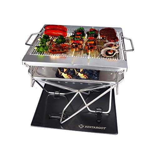 Bestargot Charcoal Grill Barbecue Portable BBQ - Stainless Steel Folding BBQ Kabab Grill Camping Grill Tabletop Grill Hibachi Grill for Shish Kabob Portable Camping Cooking Small Grill