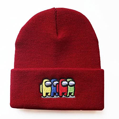 Gorro de Punto Unisex para niños Sombrero de Hip Hop Niños a Prueba de frío Mantener cálidoColorCortoSombrero Simple-Wine Red-One Size