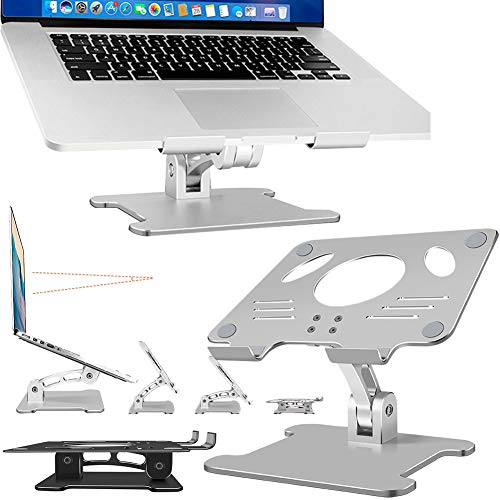 DSMGLRBGZ Laptop Stand, Laptop Riser Aluminum Alloy Not Shake Hollow Out Free Adjustment Folded Silicone Non-Slip Stand for Health Perspective Prevent Scratches Different Thickness Monitor Stand,B