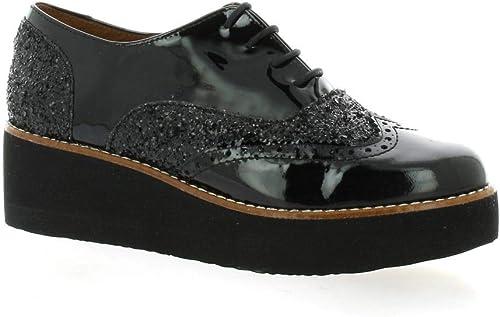 Pao Pao Derby Cuir pailleté Noir  achats de mode en ligne