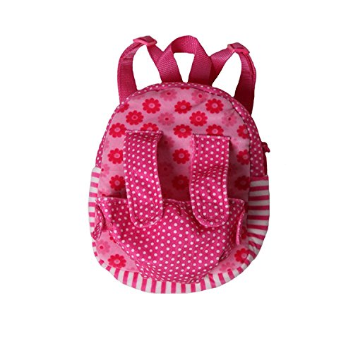 Pink Daisy Patchwork Plush Velour Doll Carrier Toy Backpack (Small - Recommended up to 13' Doll)