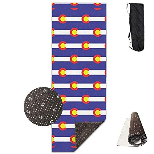 Yoga Mat Eco-Friendly Anti Slip Yoga Mat Cute Colorado Flag Yoga Towel Carrying Strap & Bag Non-Toxic Printedfor Exercise,Yoga and Pilates 71 X 24 Inch