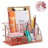 Schreibtisch-Organizer mit Schublade, Rotgold Farbe, Ablagefach und 4 aufrechten Abschnitten,...