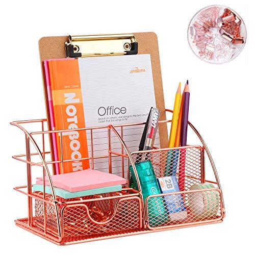 Schreibtisch-Organizer mit Schublade, Rotgold Farbe, Ablagefach und 4 aufrechten Abschnitten, kompakter Büroorganizer Metall, Schublade, Zettehalter, Stifteköcher,(72 Klammern für gratis)