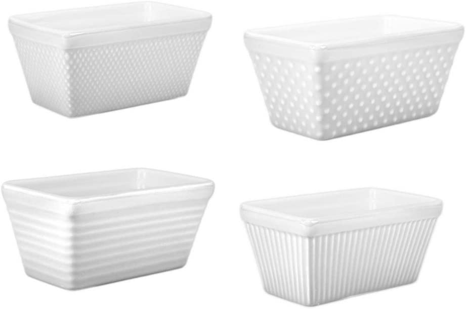 BIA Factory outlet White New life Porcelain Mini Loaf Set 4 of Pan