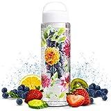 Laura Ashley 24 oz. Sport Fruit Water Bottle Infuser, Adds Healthy Detoxing Hydration to Your Drink W/Filter Basket, Leak Proof, Screw Top, BPA Free Plastic (White Lid)