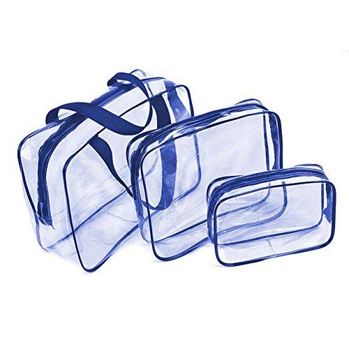 Beauty Case da Viaggio, Trousse Trasparente, Busta da Viaggio,3 in 1 sacchetti di trucco & sacchetti di plastica sacchetto di plastica trasparente borsa di spazzola del PVC Set Viaggio Kit (Blu)