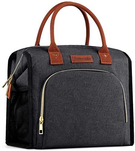 Homecube - Bolsa de almuerzo con aislamiento, con bolsillos, gran capacidad, multifuncional, caja de preparación de comidas