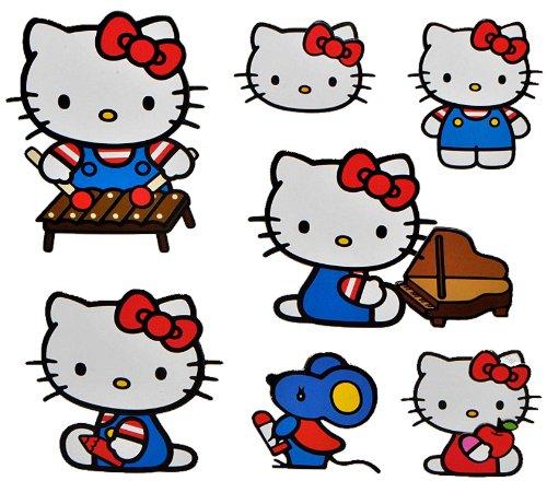 alles-meine.de GmbH 7 TLG. Set 3-D Effekt _ Wandtattoo / XL Sticker aus Pappe -  Katze - Hello Kitty mit Freunden & Instrumenten  - selbstklebend & wiederverwendbar - Aufkleber..