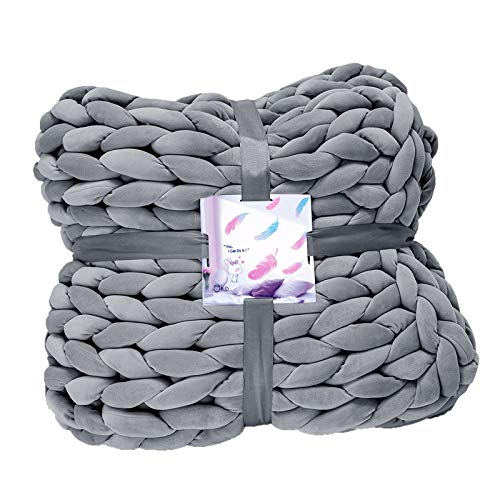 JIAOJIAO Chunky Knit Weighted Blanket-Handmade Knitted Decorative Throw for Home-Soft Thick and Fluffy for Couch Cover Sofa Chair Bed Gift Multi Cozy Blankets Large Yarn Grey 31