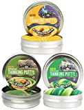 Crazy Aaron's Putty Mini Tins Creature Feature Set with Scorpion Skin, Lizard Lips & Chameleon - 3 Pack (.47oz Each)
