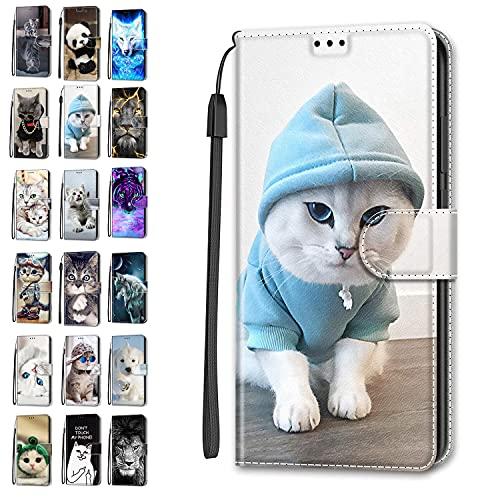 Funda de piel tipo cartera para Xiaomi Redmi Note 9 / Redmi 10X 4G Flip Cover con diseño de animal divertido ranura para tarjeta protectora de silicona para niñas niños - Cat 12