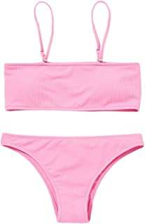Women's Two Piece Cami Strap Solid Color Bandeau Ribbed Swimsuit Bikini Set