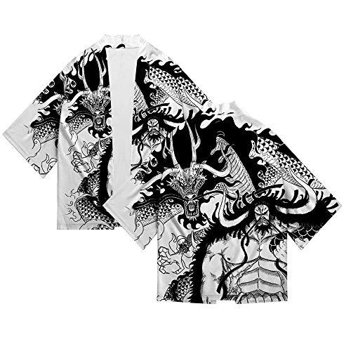 Jonyn Camisetas T-Shirt Hombre Manga Corta Casual Top Algodón/Poliéster Suave Secado Rapido Sudadera tee One Piece Kimono XXL