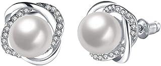 Gfengkuan Women Pearl Earrings Pearl Stud Earrings Eardrop Ear Hook Stud Earings Girls Ear Drop Wedding Earrings