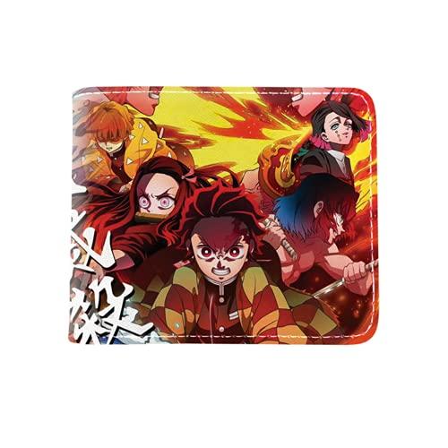Cartera de dibujos animados Demon Slayer Cartera,Cartera corta de anime plegable con titular de la tarjeta, 13, talla única