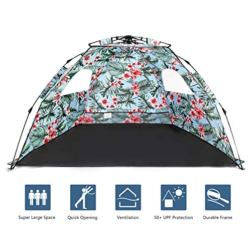 MallBoon Pop Up Beach Tent Sun Shelter,Protable 3-4 Person Sun Shade with Easy Setup and Sun Protection for Kids,Family(Blue)