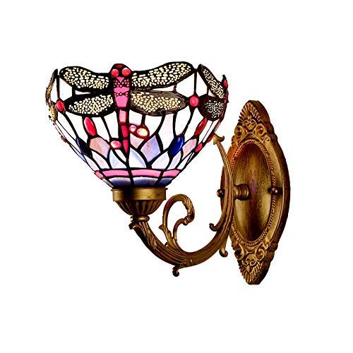 DALUXE Apliques de Pared de Estilo Tiffany, Luces de Pared de Cristal teñidas Vintage, 1 luz, lámpara de Cama de Metal Retro para Sala de Estar