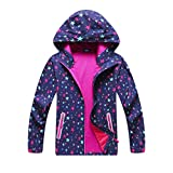 Top&Sky Kids Outdoor Lightweight Waterproof Jacket Fleece Lining Hood Reflective Strips Raincoat for Kids (Purple Stars-Mesh Lining, 10/11Y Height59.06)