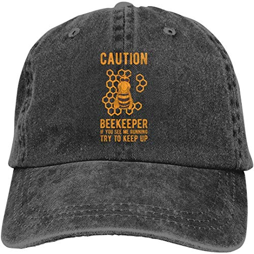 Caution Beekeeper If You See Me Running Try to Keep Up Denim Cap Baseball Hat Fashion11888